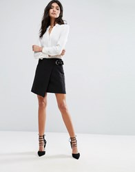 Mango Wrap Front Buckle Skirt Black