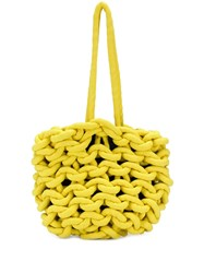 Alienina Chunky Knit Tote Bag Yellow