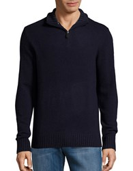 Black Brown Wool Blend Quarter Zip Sweater Dark Navy
