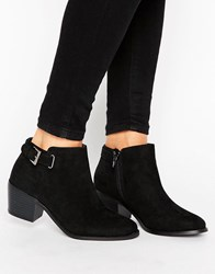 Head Over Heels Buckle Heel Boot Black