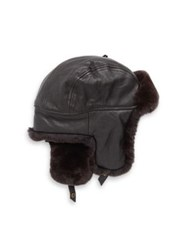 Crown Cap Sheared Rabbit Aviator Hat Brown