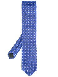Canali Floral Patterned Tie Blue