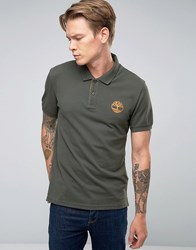 Timberland Slim Logo Pique Polo In Green Forest Night