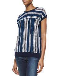 Tory Burch Mercerized Cotton Short Sleeve Sweater