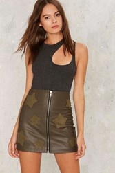On A Mission Vegan Leather Skirt Green