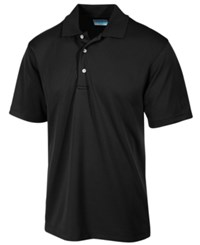 Pga Tour Men's Airflux Solid Golf Polo Shirt Caviar Black