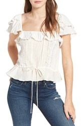 For Love And Lemons Women's Crema Linen Silk Blouse
