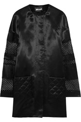 Just Cavalli Embroidered Tulle And Satin Twill Coat