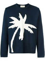 Universal Works Palm Tree Intarsia Jumper Blue