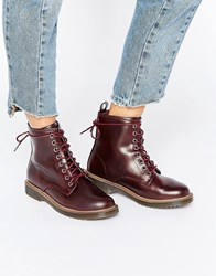 New Look Leather Lace Up Work Boot Bright Red