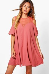 Boohoo Lace Cold Shoulder Swing Dress Spice