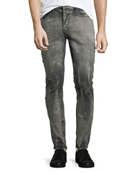 Hudson Vaughn Skinny Ankle Zip Deconstructed Jeans Gray