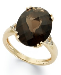 Macy's 14K Gold Ring Smokey Quartz 12 Ct. T.W. And Diamond 1 5 Ct. T.W. Oval Ring Brown