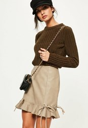 Missguided Tan Faux Leather Frill Eyelet Mini Skirt