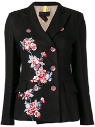 History Repeats Floral Double Breasted Jacket Women Cotton Linen Flax 44 Black