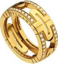 Bulgari Parentesi 18Ct Yellow Gold And Diamond Ring
