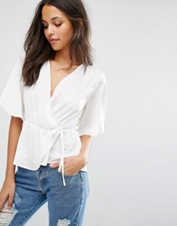 Missguided Satin Tie Front Blouse White