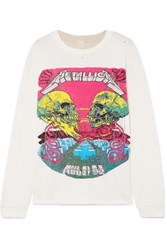 Madeworn Metallica Distressed Glittered Printed Cotton Jersey T Shirt Off White