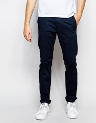 Selected Homme Slim Fit Chinos With Italian Leather Belt Navy