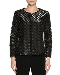 Giorgio Armani Perforated Leather Bracelet Sleeve Jacket Black