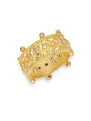Freida Rothman Classic Cubic Zirconia Sterling Silver And 14K Goldplated Windsor Ring