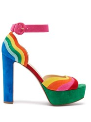 Christian Louboutin Degratissimo 130 Rainbow Suede Sandals Multi