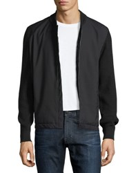 Zegna Sport Techmerino Zip Front Sweatshirt Black