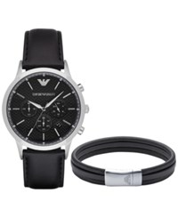 Emporio Armani Men's Chronograph Renato Black Leather Strap Watch And Bracelet Gift Set 43Mm Ar8034