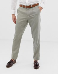 Selected Homme Smart Tapered Trouser In Grid Check Beige