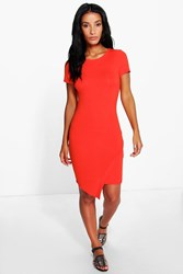 Boohoo Asymetic Bodycon Dress Orange