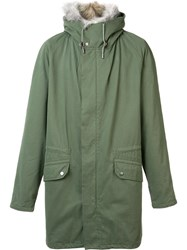 Yves Salomon Trim Detail Hooded Jacket Green