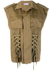 Red Valentino Lace Up Detail Military Vest Green