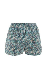 Sunspel Liberty Print Cotton Boxer Shorts Blue Multi