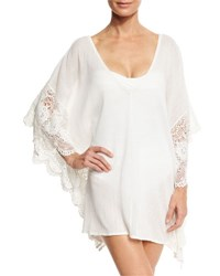 Flora Bella Calista Scalloped Lace Short Caftan Coverup White