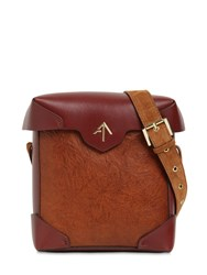 Manu Atelier Mini Pristine Leather Shoulder Bag Cognac