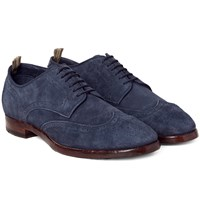 Officine Creative Princeton Suede Wingtip Brogues Navy