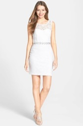 Way In Glitter Lace Body Con Dress Juniors White