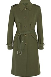 Michael Kors Wool Gabardine Trench Coat Green