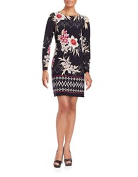 Vince Camuto Long Sleeve Floral Printed Dress Navy Multi