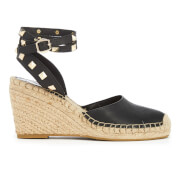 Ash Women's Whitney Leather Espadrille Wedges Black