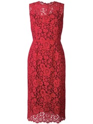 Dolce And Gabbana Floral Lace Fitted Dress Red