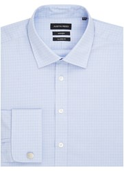 Austin Reed Check Classic Long Sleeve Classic Collar Shirt Blue