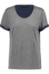 7 For All Mankind Distressed Jersey T Shirt Gray