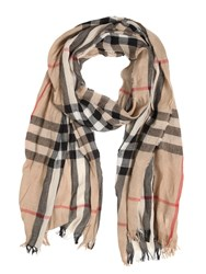Burberry Check Printed Wool And Cashmere Scarf