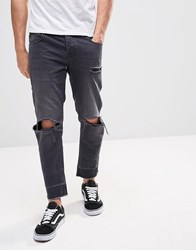 Asos Slim Cropped Jeans With Knee Rips Washed Black