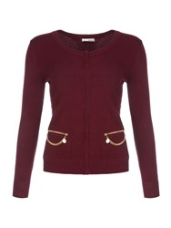 Relish Cardigan With Chain Detailing Red