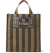 Fendi Leather Trimmed Striped Canvas Tote Bag Brown