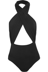 Cosabella Bisou Move Cutout Stretch Jersey Halterneck Bodysuit Black