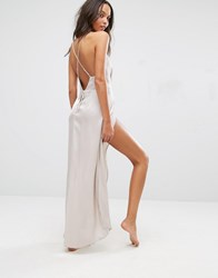Asos Pleat Side Satin Maxi Slip Oyster Beige