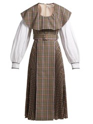 Emilia Wickstead Kevin Pleated Houndstooth Crepe Lined Dress Brown Multi